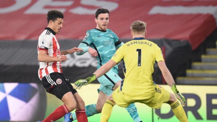 Hasil Babak Pertama Sheffield United vs Liverpool 0-0, Kiper Aaron Ramsdale Bikin Liverpool Mandul