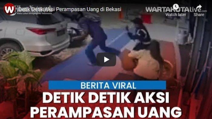 VIDEO Detik-detik Aksi Perampasan Uang di Bekasi, Penjahat Todongkan Senjata Tajam di Depan Satpam