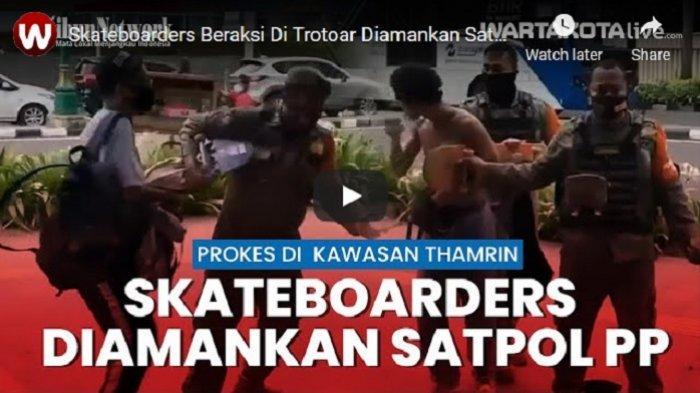 VIDEO Skateboarders Diamankan Satpol PP Saat Bermain di Trotoar