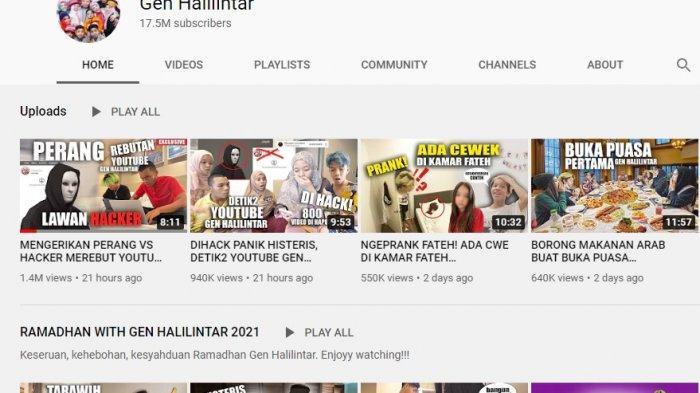Channel Youtube Gen dan Thariq Halilintar Sudah Pulih, Tinggal Pencarian di Google Masih Bermasalah