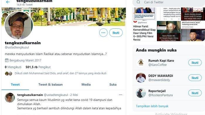 Banyak netizen mengungkapkan rasa dukanya melalui Akun Twitter Ustaz Tengku Zulkarnain, @ustadtengkuzul.
