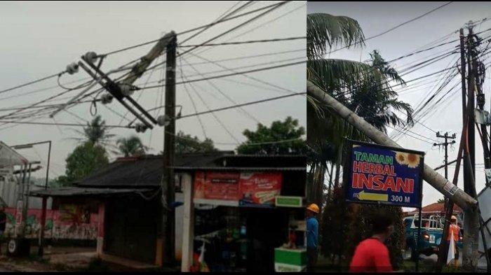 Insiden amukan angin kencang di Parung Bogor, membuat 16 rumah warga, rumah toko (ruko) dan tempat ibadah mengalami kerusakan, hingga merobohkan tiang listrik, Kamis (18/3/2021).
