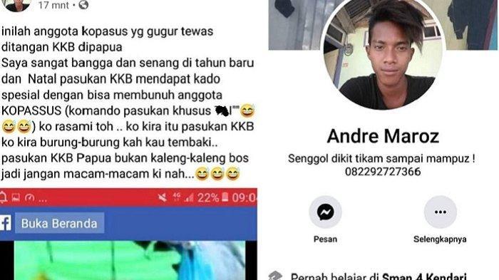 VIRAL Postingan Andre Maroz di Facebook, Hina Kopassus yang Gugur dan Semangati KKB Papua Serang TNI
