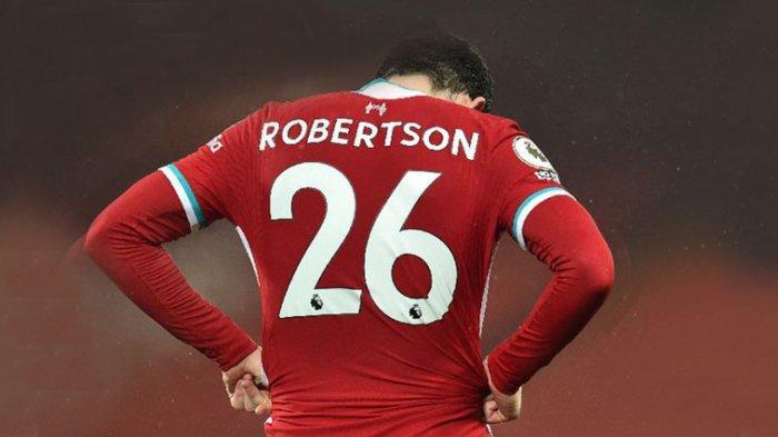 Bek kiri Liverpool Andy Robertson kecewa dengan kekalahan timnya dari Brighton