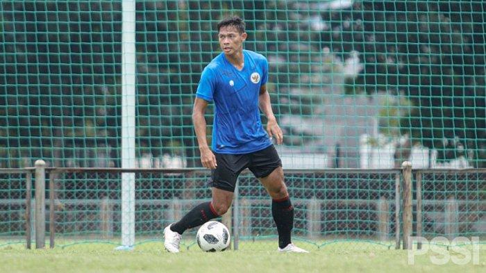 Andy Setyo bek timnas U-22 bersama rekan-rekannya siap tampil yang terbaik pada laga ujicoba melawan Persikabo 1973 dan Bali United FC pekan ini