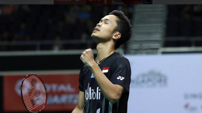 Anthony Sinisuka Ginting Pun Gagal Meraih Gelar Juara Singapore Open 2019 Dikalahkan Kento Momota