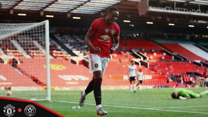 Penyerang Manchester United Anthony Martial mencetak hattrick di laga Manchester United vs Sheffield United di laga lanjutan Liga Inggris, Kamis (25/6/2020) dini hari. Di laga tersebut Manchester United unggul 3-0.
