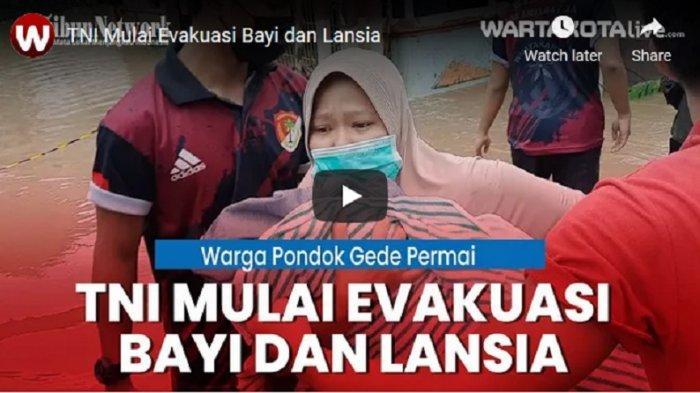 VIDEO Banjir di Bekasi, TNI Mulai Evakuasi Lansia dan Bayi di Perumahan Pondok Gede Permai