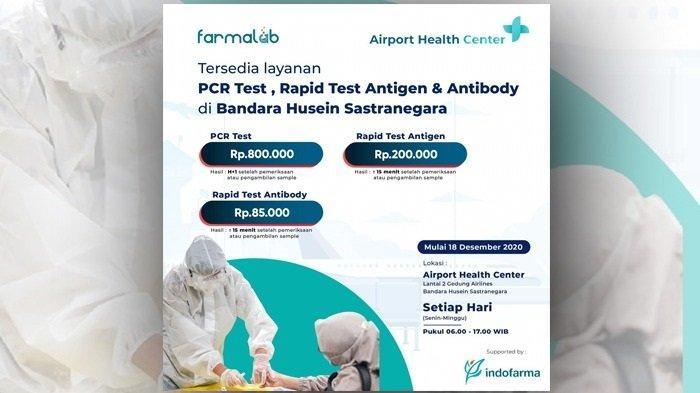 Airport Health Center di Bandara AP II Berlakukan Tarif Baru Tes Covid-19 Mulai 18 Desember 2020