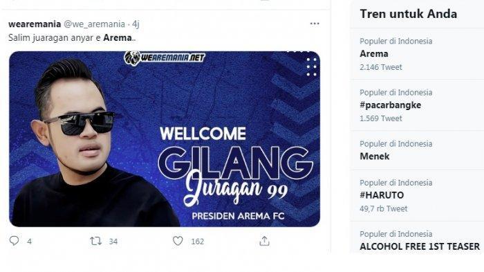 Arema puncaki jagat trending twitter. Selain menang telak 6-2 atas Rans Cilegon, Arema menjadi trending karena kini dipimpin Crazy Rich Malang, Gilang Widya Permana atau Gilang J 99.
