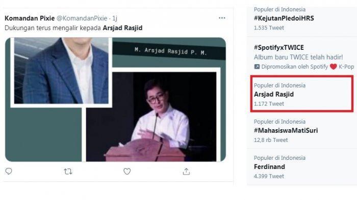 Wakil Ketum Kadir Arsjad Rasjid trending. Rupanya terkait pencalonan Ketum Kadin periode 2016-2021. Arsjad bersaing dengan Anindya Bakrie.
