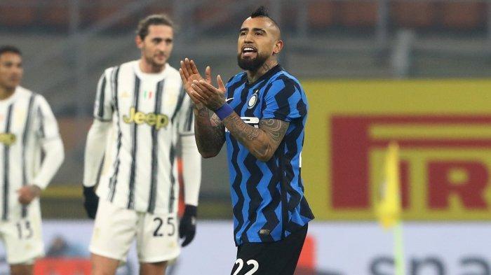 Gelandang Inter Milan, Arturo Vidal. Ia tak bisa main pada leg kedua coppa Italia Juventus vs Inter Milan