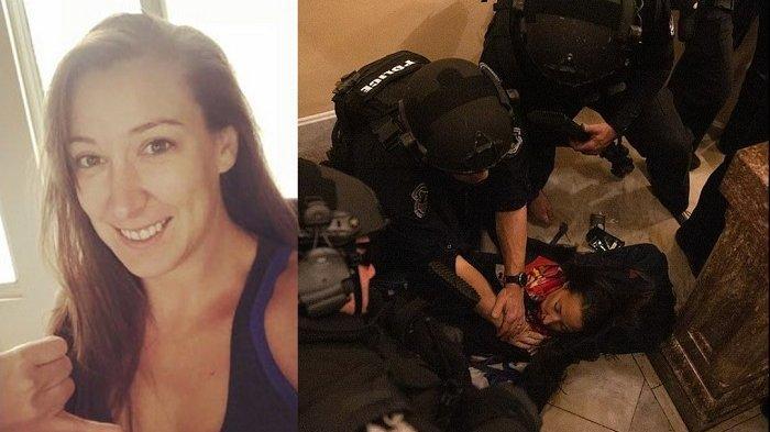 Ashli Babbit (35), seorang wanita pendukung Donald Trump tewas ditembak di Gedung Capitol Hill Amerika Serikat (AS). Berikut Foto-foto dan video detik-detik wanita pendukung Donald Trump tewas ditembak di Gedung Capitol AS. (Kolase Wartakotalive.com/Twitter @Ashli_Babbit/Adam Gray/SWNS dor DailyMail.com)