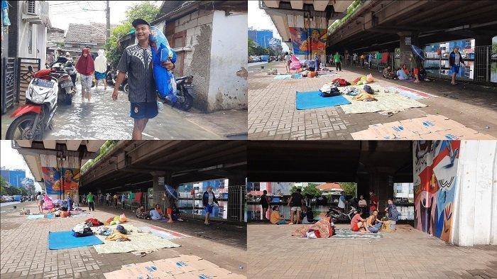 Korban Banjir di RW 03 Kelurahan Rawa Buaya Mengungsi di Kolong Jembatan, Tidur Hanya Beralas Tikar