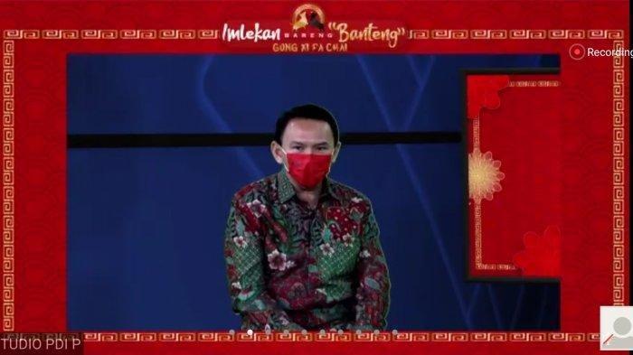 Basuki Tjahaja Purnama (BTP) alias Ahok tampil dalam acara dalam acara 'Imlekan Bareng Banteng' yang digelar DPP PDI Perjuangan (PDIP) , Jumat (12/2/2021)