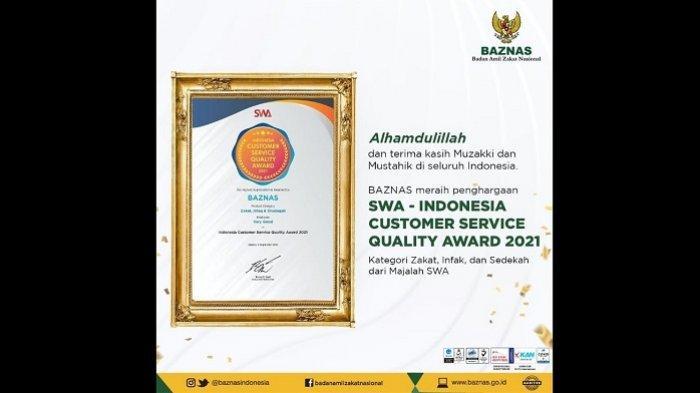 Baznas Raih Penghargaan Indonesia Customer Service Quality Award 2021