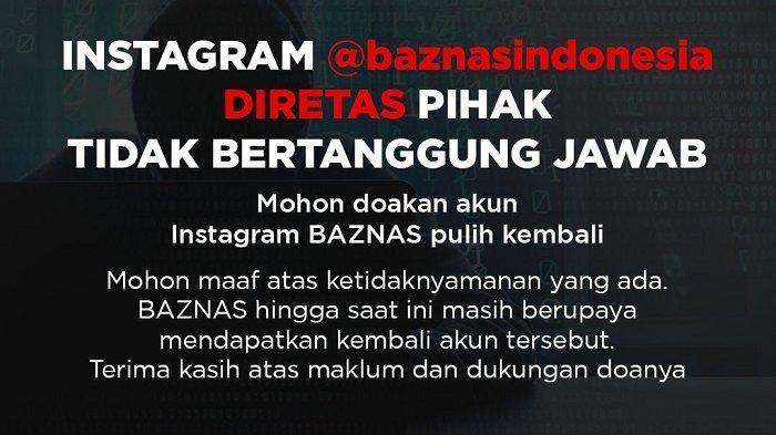Akun Instagram Masih Diretas, Begini Pernyataan Badan Amil Zakat Nasional