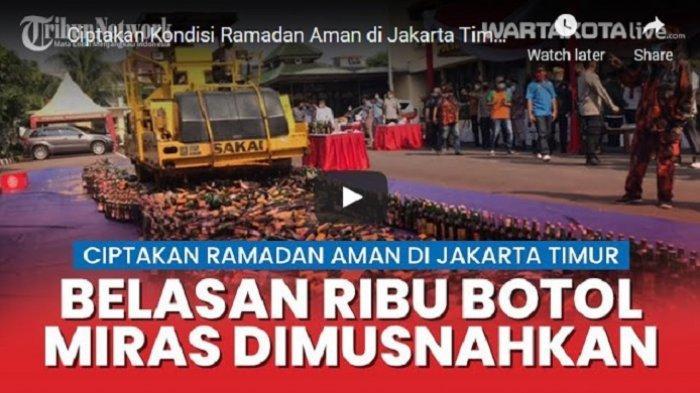 VIDEO Belasan Ribu Botol Miras Hasil Operasi Cipta Kondisi di Jakarta Timur Dimusnahkan