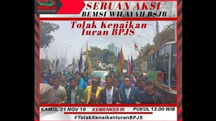 BEM-SI Tolak Kenaikan Iuran BPJS Kesehatan, Serukan Aksi Unjuk Rasa Kamis 21 November di Jakarta