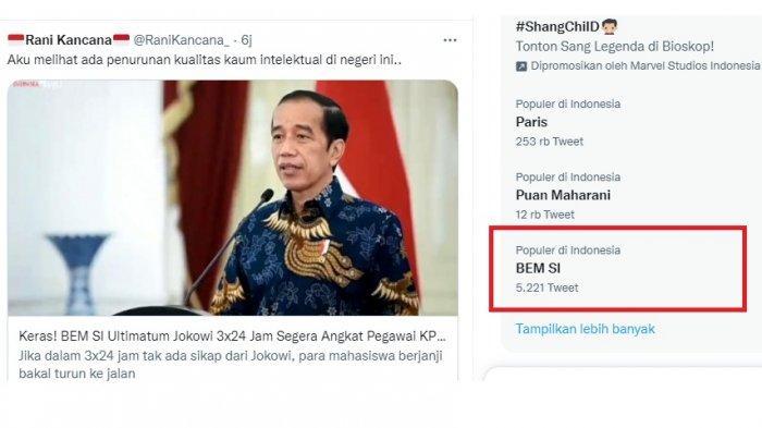 BEM SI Trending Usai Ultimatum Jokowi Agar Angkat 56 Pegawai KPK, Netizen: Siapa di Belakang BEM SI?