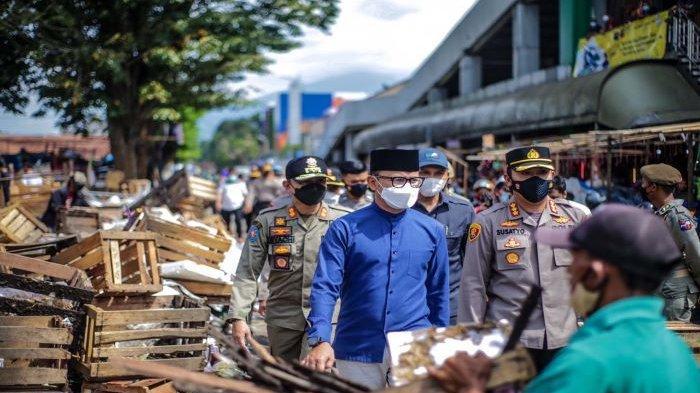 Jelang idul Fitri Satgas Covid-19 Kota Bogor Lakukan Rekayasa Terbatas di Pasar Kebon Kembang