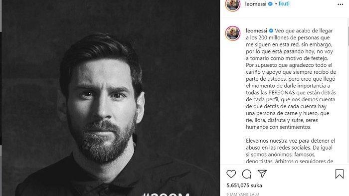 Bintang Barcelona Lionel Messi mendukung kampanye boikot media sosial, khususnya Facebook dan Instagram, setelah platform tersebut digunakan untuk melakukan diskriminasi ras.