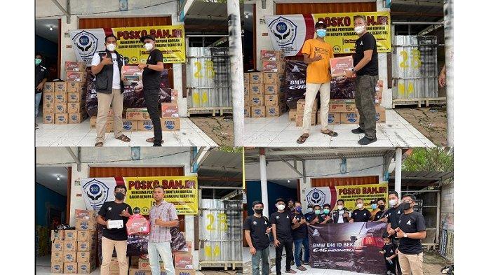 Komunitas mobil BMW, yaitu BMW E46 Indonesia atau BMW E46 ID sambangi RT 008 RW 004 Kampung Garon, Desa Setia Laksana, Kecamatan Cabang Bungin, Sabtu (6/3/2021). Menggelar kegiatan bertajuk Empathy For Charity dengan berkolaborasi BMW E46 ID Korwil Bekasi, sejumlah anggota BMW E46 ID bagikan sembako dan masker ke warga yang menjadi korban banjir di wilayah tersebut.