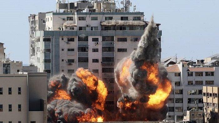 JALA Tower di Gaza Dibom Israel Hingga Rata Tanah, Penghuni Diberi Waktu 1 Jam Kosongkan Gedung