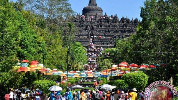 Wow Keren, Candi Borobudur Diterangi Warna Oranye untuk Dukung Penghapusan Kekerasan