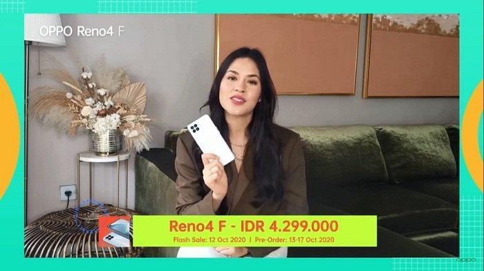 Brand Ambassador OPPO, Raisa, mengumumkan harga OPPO Reno4 F saat peluncuran virtual ponsel keluarga Reno4 ini, Senin (12/10/2020) malam.