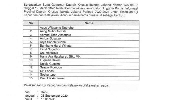 15 Nama Calon Anggota Komisi Informasi Provinsi DKI Jakarta yang Akan Ikut Uji Kelayakan & Kepatutan