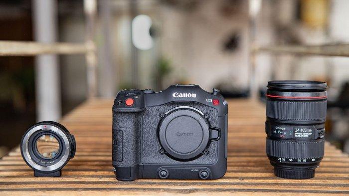 Kamera Canon EOS C70 dengan lensa dan mount