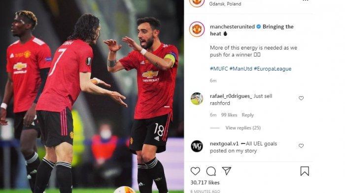 Hasil Sementara Babak Kedua Villareal vs Manchester United 1-1, Gol Edinson Cavani Menit 55