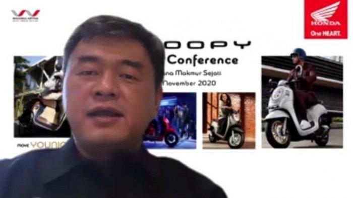 Chief Marketing Officer Wahana Edi Setiawan dalam peluncuran virtual All New Honda Scoopy, Jumat (20/11/2020). All New Honda Scoopy hadir dalam empat varian dengan masing-masing dua warna pilihan.