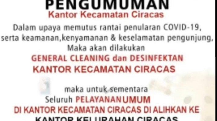 Alasan Akan Sterilisasi, Kecamatan Ciracas Di-Lockdown karena Camat dan Wakil Positif Covid-19?