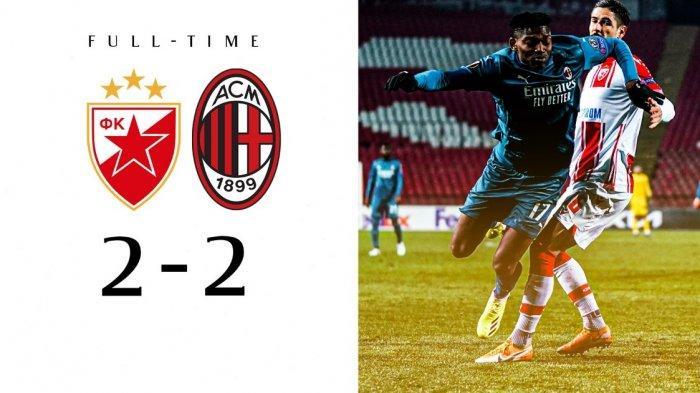 Dramatis,10 Pemain Crvena Zvezda Buyarkan Kemenangan AC Milan di Leg 1 Babak 32 Besar Liga Europa