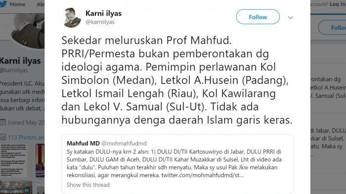 Tanggapi Cuitan Mahfud MD, Karni Ilyas Protes: PRRI Tidak Ada Hubungan dengan Islam Garis Keras