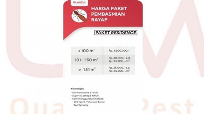 Daftar harga pelayanan Jasa Anti Rayap FUMIDA