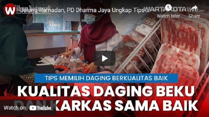 Daging yang dijual PD Dharma Jaya di DJ House Meet, Cakung, Jakarta Timur, Senin (12/4/2021).
