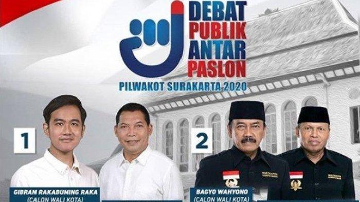 Poster debat Calon Wali Kota Solo Gibran Rakabuming dan Bagyo Wahyono.