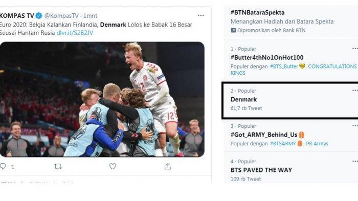 Denmark Trending Usai Secara Mengejutkan Lolos ke Babak 16 Besar Euro 2020, Dunia Membicarakannya