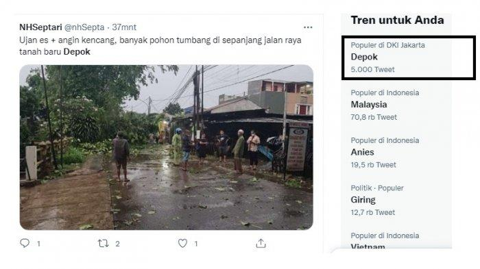 Depok Trending, Hujan dan Angin Kencang, Pohon Tumbang, Listrik Mati, Perjalanan KRL Terganggu