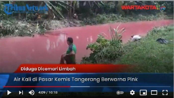 VIDEO Diduga Dicemari Limbah, Air Kali di Pasar Kemis Tangerang Berwarna Pink