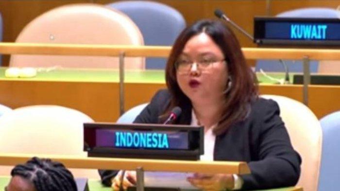Diplomat Indonesia Sindy Nur Fitri menjawab tuduhan Vanuatu terkait HAM di Papua pada Sidang Umum PBB.