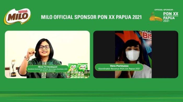 Business Executive Officer Beverages Business Unit PT Nestle Indonesia, Mirna Tri Handayani (kiri) dan Koordinator Revenue PON XX Papua 2021, Vera Parinussa berfoto bersama pada acara konferensi pers virtual: Dukungan Nestle Milo untuk PON XX Papua 2021, Kamis (23/9/2021).