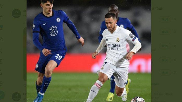 Eden Hazard dikawal Kai Harvertz pada babak kedua leg pertama Liga Champions antara Real Madrid melawan Chelsea.