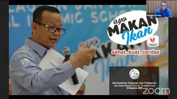 Edhy Prabowo dalam Webinar Nasional bersama Civitas Universitas Binawan bertema 'Gemar Makan Ikan untuk Pencegahan Stunting' pada Sabtu (22/8/2020).