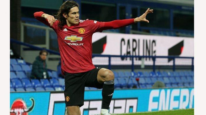Aksi selebrasi Edinson Cavani usai persembahkan gol buat Manchester United.
