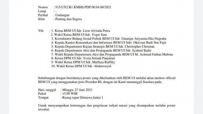 Pemanggilan anggota BEM UI terkait cuitan Jokowi King of Lip Service tertulis dalam surat undangan yang tersebar bersifat penting dan segera.