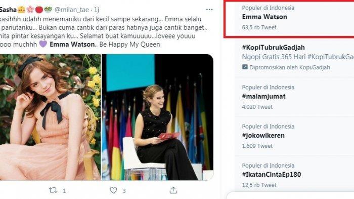 Emma Watson trending topic karena pensiun dari dunia akting meski usia baru 30 tahun.